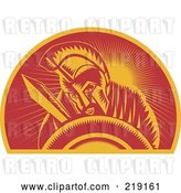 Vector Clip Art of Retro Red and Orange Roman Soldier Logo by Patrimonio