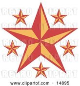 Vector Clip Art of Retro Red and Orange Stars over a White Background by Andy Nortnik
