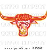 Vector Clip Art of Retro Red and Orange Texas Longhorn Bull Head by Patrimonio