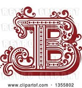 Vector Clip Art of Retro Red and White Capital Letter B with Flourishes by Vector Tradition SM
