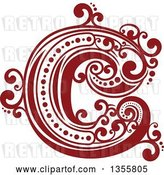 Vector Clip Art of Retro Red and White Capital Letter C with Flourishes by Vector Tradition SM