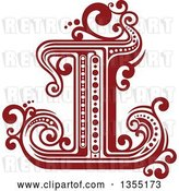 Vector Clip Art of Retro Red and White Capital Letter I with Flourishes by Vector Tradition SM