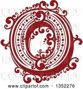 Vector Clip Art of Retro Red and White Capital Letter O with Flourishes by Vector Tradition SM