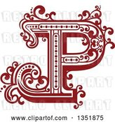 Vector Clip Art of Retro Red and White Capital Letter P with Flourishes by Vector Tradition SM