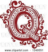 Vector Clip Art of Retro Red and White Capital Letter Q with Flourishes by Vector Tradition SM
