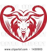 Vector Clip Art of Retro Red and White Cashmere Goat Head in an Ornate Swirl Heart by Patrimonio