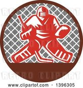 Vector Clip Art of Retro Red and White Ice Hockey Goalie over a Net in a Brown and Gray Circle by Patrimonio