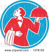 Vector Clip Art of Retro Red and White Male Waiter Holding a Cloche Platter and Looking up in a Blue Circle by Patrimonio