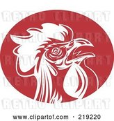 Vector Clip Art of Retro Red and White Rooster Logo by Patrimonio