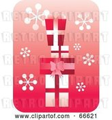 Vector Clip Art of Retro Red and White Stacked Gifts on Pink with Snowflakes by Prawny