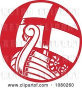 Vector Clip Art of Retro Red and White Viking Sailboat by Patrimonio