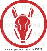 Vector Clip Art of Retro Red Armadillow Head in a Circle by Patrimonio