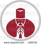 Vector Clip Art of Retro Red Asian Chef Bowing or Praying in a Circle by Patrimonio