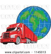 Vector Clip Art of Retro Red Big Rig Truck and Globe 1 by Patrimonio