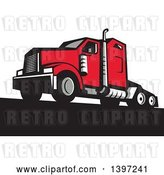 Vector Clip Art of Retro Red Big Rig Truck by Patrimonio