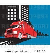 Vector Clip Art of Retro Red Big Rig Truck in a City by Patrimonio