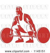 Vector Clip Art of Retro Red Bodybuilder Lifting a Barbell by Patrimonio