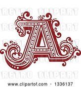 Vector Clip Art of Retro Red Capital Letter a with Flourishes by Vector Tradition SM