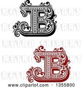 Vector Clip Art of Retro Red, Capital Letter B Designs with Flourishes by Vector Tradition SM