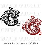 Vector Clip Art of Retro Red, Capital Letter C Designs with Flourishes by Vector Tradition SM