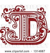 Vector Clip Art of Retro Red Capital Letter D with Flourishes by Vector Tradition SM