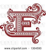 Vector Clip Art of Retro Red Capital Letter E with Flourishes by Vector Tradition SM