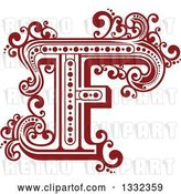 Vector Clip Art of Retro Red Capital Letter F with Flourishes by Vector Tradition SM