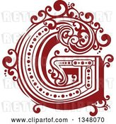 Vector Clip Art of Retro Red Capital Letter G with Flourishes by Vector Tradition SM