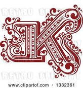 Vector Clip Art of Retro Red Capital Letter K with Flourishes by Vector Tradition SM