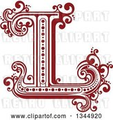 Vector Clip Art of Retro Red Capital Letter L with Flourishes by Vector Tradition SM