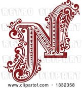 Vector Clip Art of Retro Red Capital Letter N with Flourishes by Vector Tradition SM