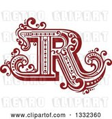 Vector Clip Art of Retro Red Capital Letter R with Flourishes by Vector Tradition SM