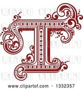 Vector Clip Art of Retro Red Capital Letter T with Flourishes by Vector Tradition SM