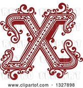 Vector Clip Art of Retro Red Capital Letter X with Flourishes by Vector Tradition SM