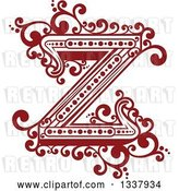 Vector Clip Art of Retro Red Capital Letter Z with Flourishes by Vector Tradition SM