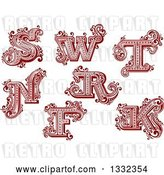 Vector Clip Art of Retro Red Capital Letters S, W, T, N, R, F and K with Flourishes by Vector Tradition SM
