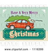 Vector Clip Art of Retro Red Car with a Tree on the Roof and a Christmas Sign by Patrimonio