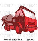 Vector Clip Art of Retro Red Cement Mixer Truck by Patrimonio