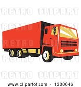 Vector Clip Art of Retro Red Closed Delivery Van or Big Rig Truck by Patrimonio