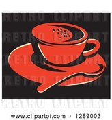 Vector Clip Art of Retro Red Coffee Cup on a Saucer with a Spoon over Black, with a White Border by Patrimonio
