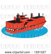 Vector Clip Art of Retro Red Container Cargo Ship on Blue Ocean Water by Patrimonio