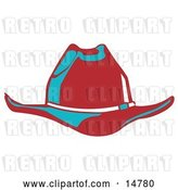 Vector Clip Art of Retro Red Cowboy Hat Cast in Blue Lighting by Andy Nortnik