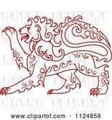 Vector Clip Art of Retro Red Curly Haired Royal Heraldic Lion by Vector Tradition SM