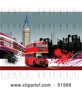 Vector Clip Art of Retro Red Double Decker Bus with Grunge in Front of a Clock Tower by
