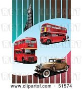 Vector Clip Art of Retro Red Double Decker Buses, Car and Big Ben on a Striped Background by