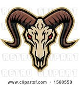 Vector Clip Art of Retro Red Eyed Demonic Ram Skull by Patrimonio