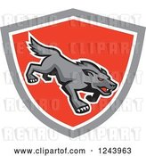 Vector Clip Art of Retro Red Eyed Stalking Wolf or Dog in a Shield by Patrimonio