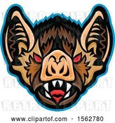 Vector Clip Art of Retro Red Eyed Vampire Bat Mascot Outlined in Blue by Patrimonio