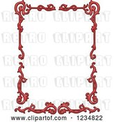Vector Clip Art of Retro Red Floral Frame by BNP Design Studio