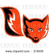 Vector Clip Art of Retro Red Fox Face and Tail by Patrimonio